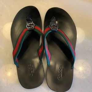 Men's Gucci Web Strap Thong Sandals